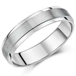5mm Palladium 500 Brushed And Polished Finish Wedding Ring