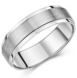 6mm Palladium 500 Brushed And Polished Finish Wedding Ring