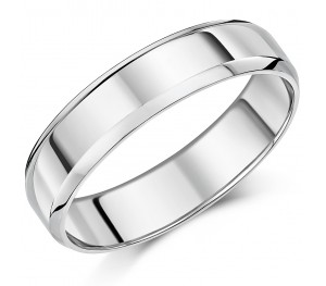 5mm Palladium Bevelled Edge Wedding Ring