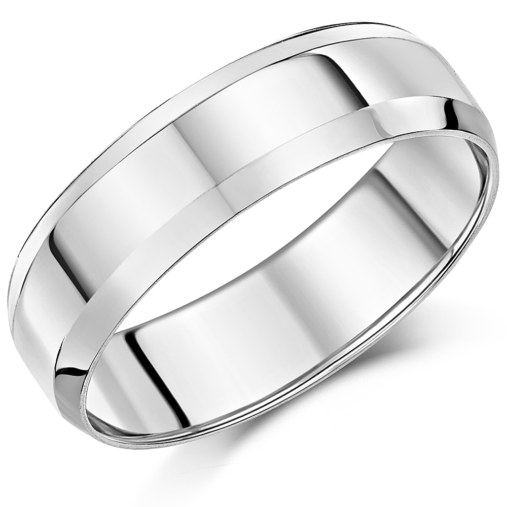 6mm Palladium Bevelled Edge Wedding Ring