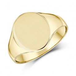 9ct Yellow Gold Men's Oval Shape Light weight Signet Ring