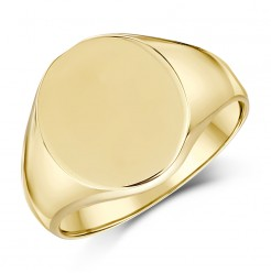 9ct Yellow Gold Men's Oval Shape Heavy weight Signet Ring