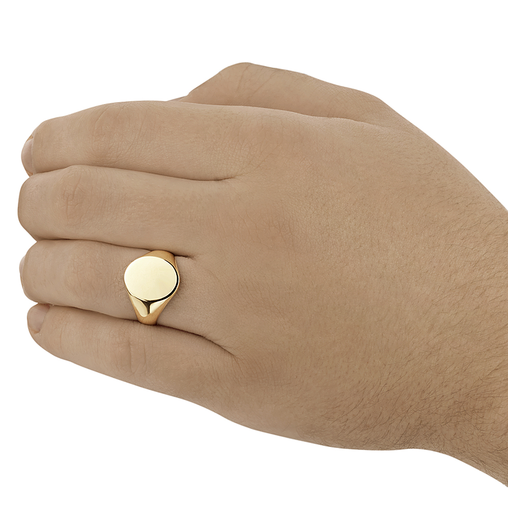 9ct Yellow Gold Men S Oval Shape Heavy Weight Signet Ring