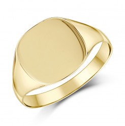 9ct Yellow Gold Men's Cushion Shape Light weight Signet Ring