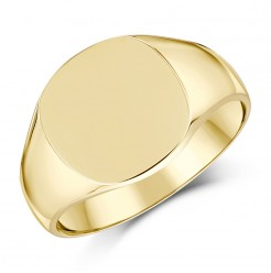 9ct Yellow Gold Men's cushion Shape Medium weight Signet Ring
