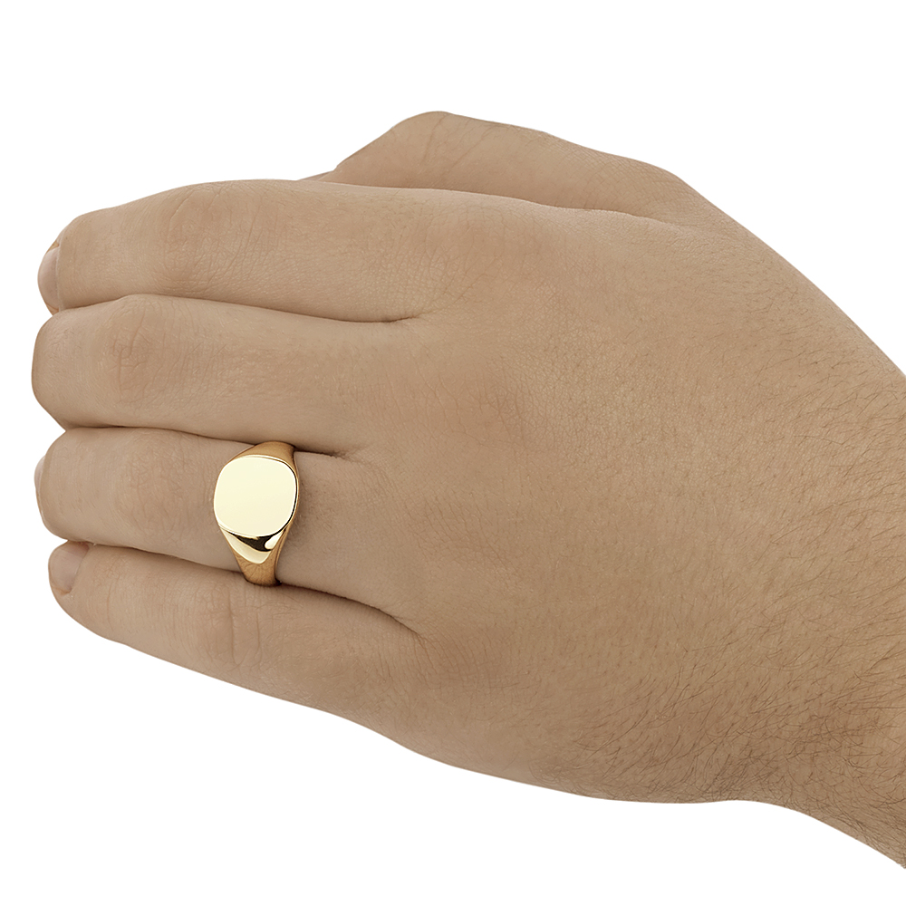 cdae836acce0c 9ct Yellow Gold Men's cushion Shape Heavy weight Signet Ring - Mens ...