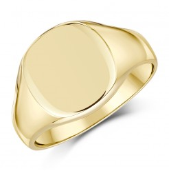 9ct Yellow Gold Men's cushion Shape Extra Heavy  weight Signet Ring