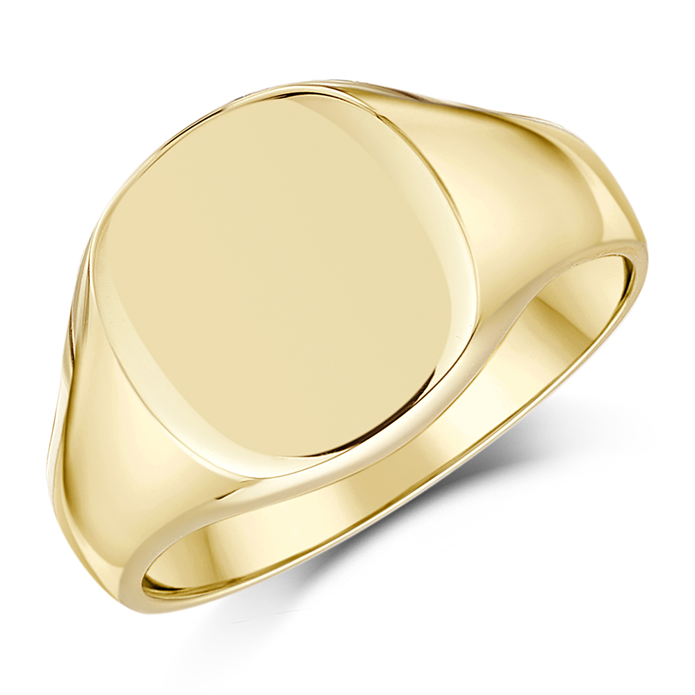 11bc027ae7899 9ct Yellow Gold Men's cushion Shape Extra Heavy weight Signet Ring ...