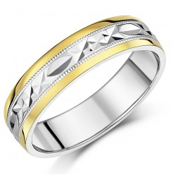 6mm Men's Silver & 9ct Yellow Gold  Patterned Wedding Ring
