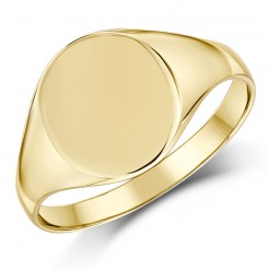 9ct Yellow Gold Oval Shape Ladies Signet Ring