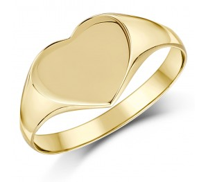 9ct Yellow Gold heart Shape Ladies Signet Ring