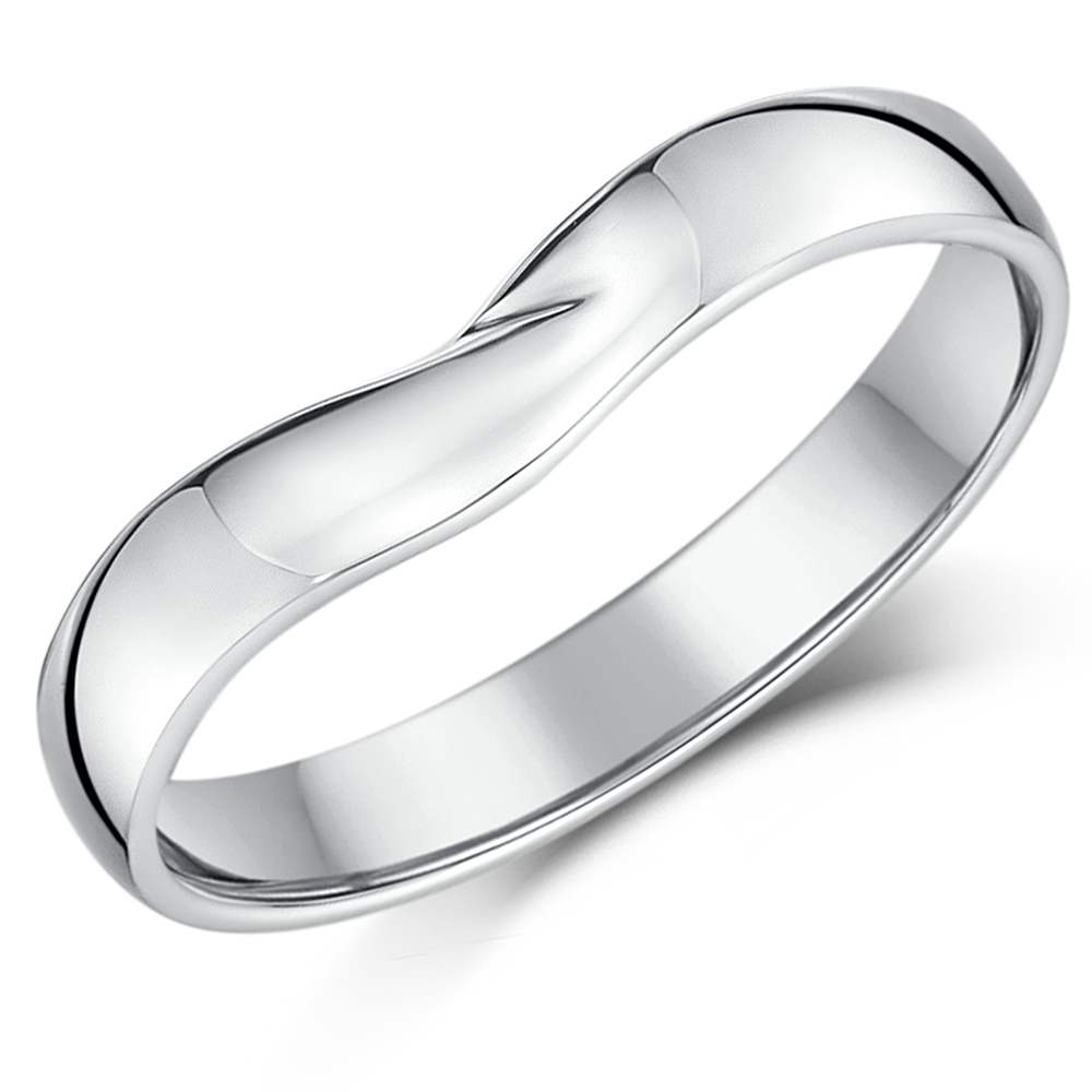 9ct White Gold Curved Wishbone Wedding Ring Band