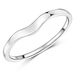 Ladies 9ct White Gold Curved Wishbone Wedding Ring Band
