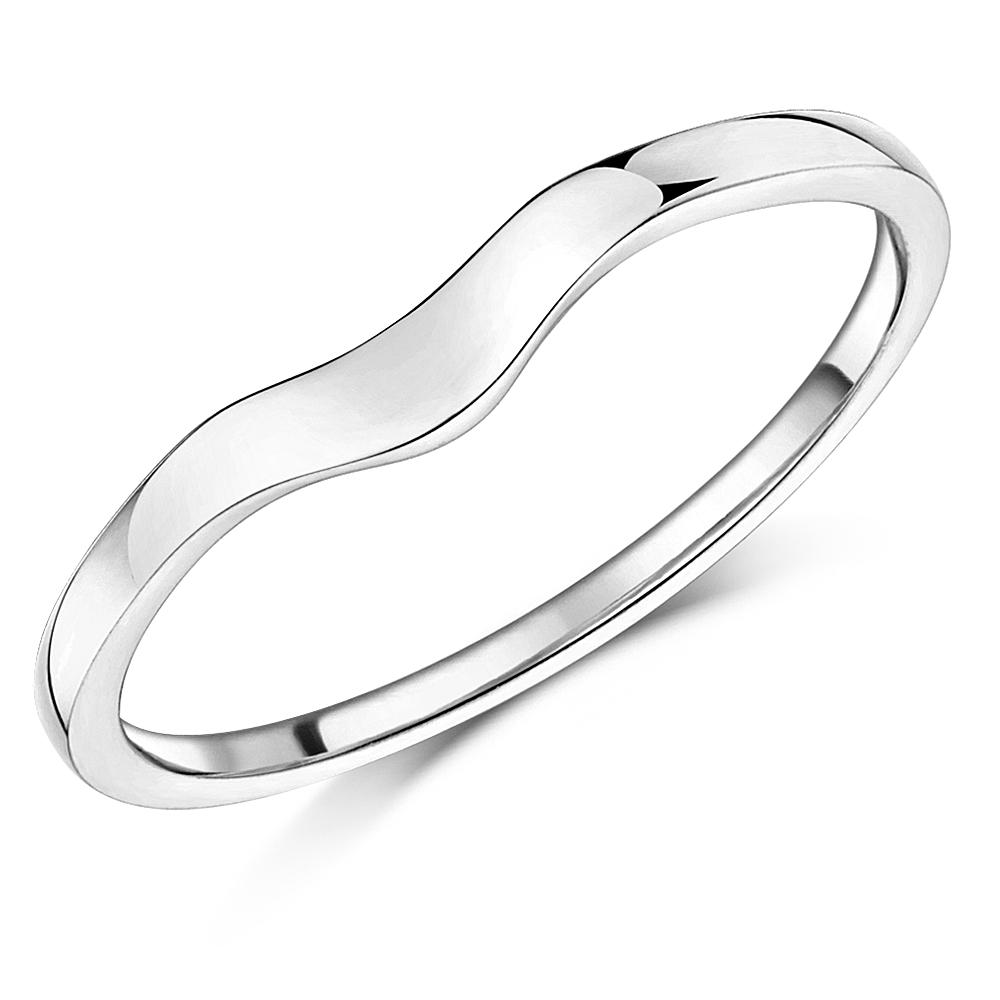 Ladies 9ct White Gold Curved Wishbone Wedding Ring Band