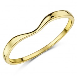 Ladies 9ct Yellow Gold Curved Wishbone Wedding Ring Band