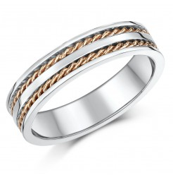 5mm 9ct Rose & White Gold Twist Rope Wedding Ring Band