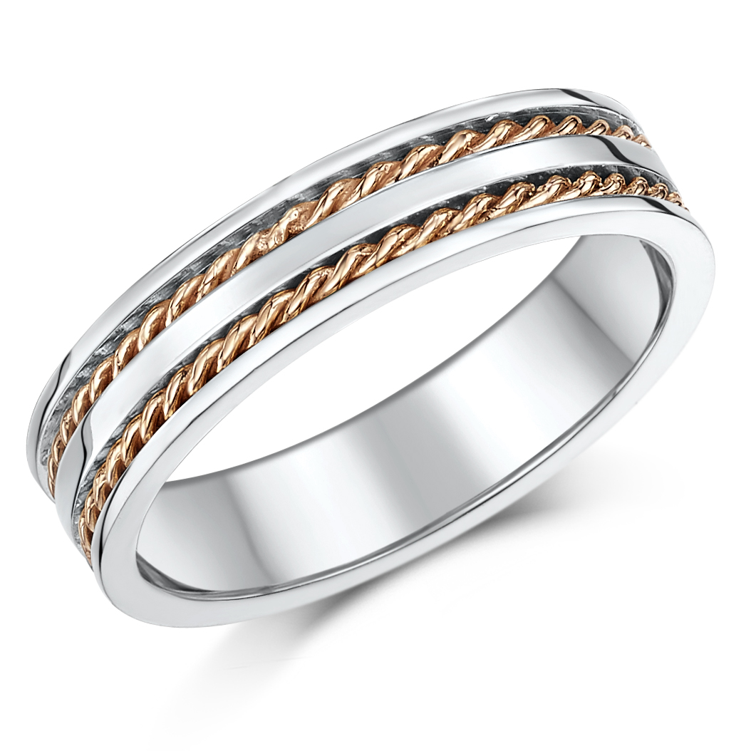 5mm 9ct Rose White Gold Twist Rope Wedding Ring Band 9ct 2