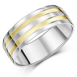 8mm Men\'s Sterling Silver & 9ct Gold Stripe Patterned Band