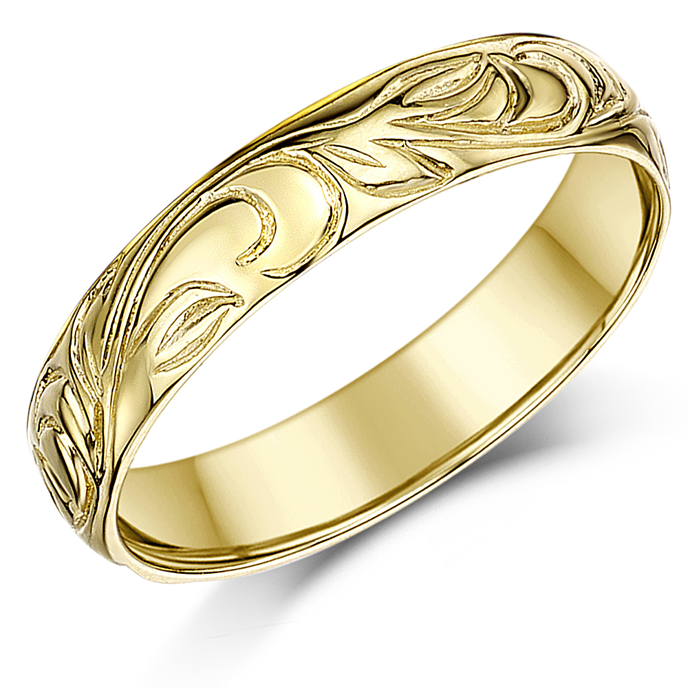 4mm 9ct yellow gold swirl patterned wedding ring band yellow gold at elma uk jewellery. Black Bedroom Furniture Sets. Home Design Ideas