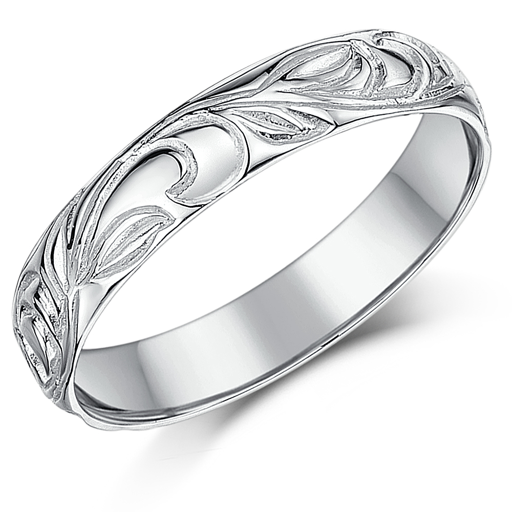 4mm 9ct White Gold Swirl Patterned Wedding Ring Band