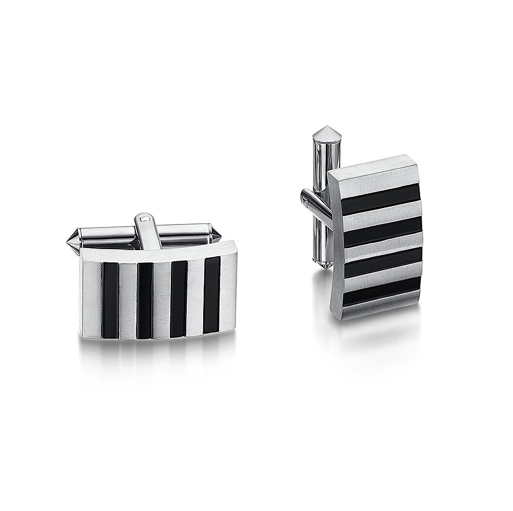 Titanium Enamel Stripe Cufflink