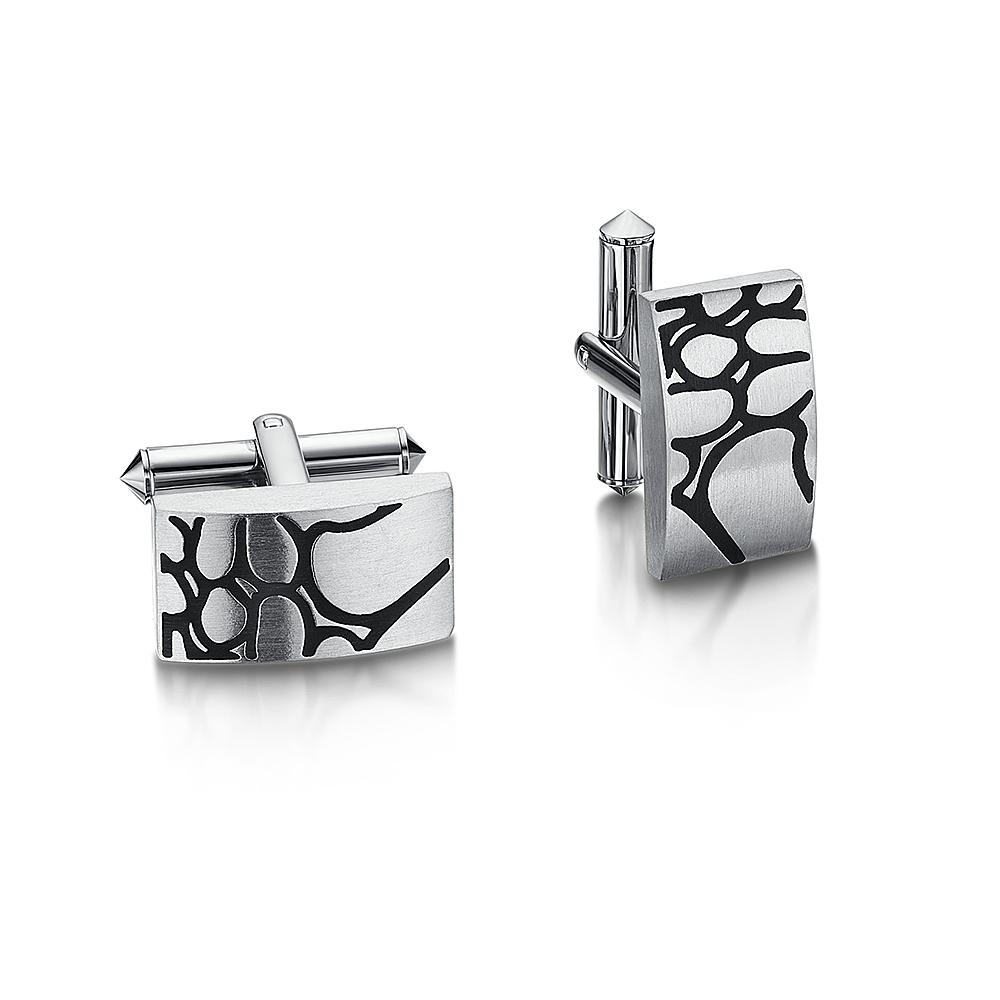Titanium Squiggle Design Cufflink