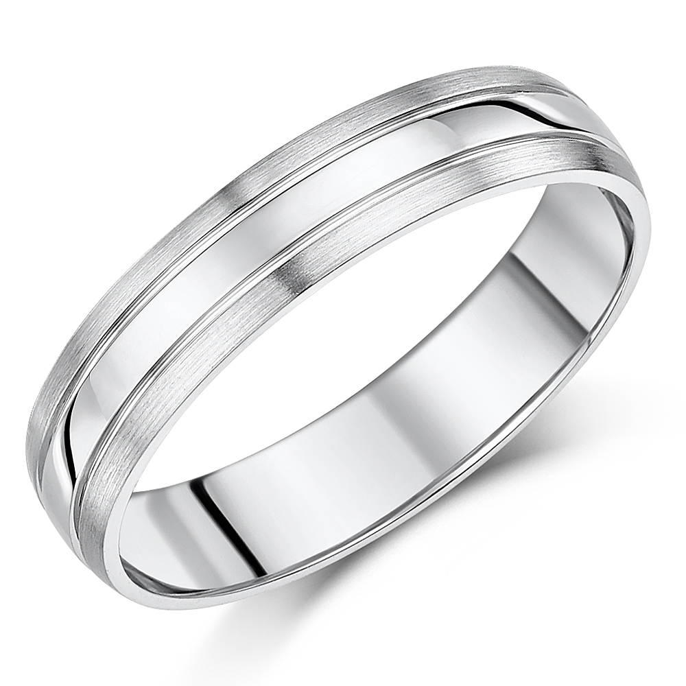 5mm Palladium 950 Matt & Polished Wedding Ring Band