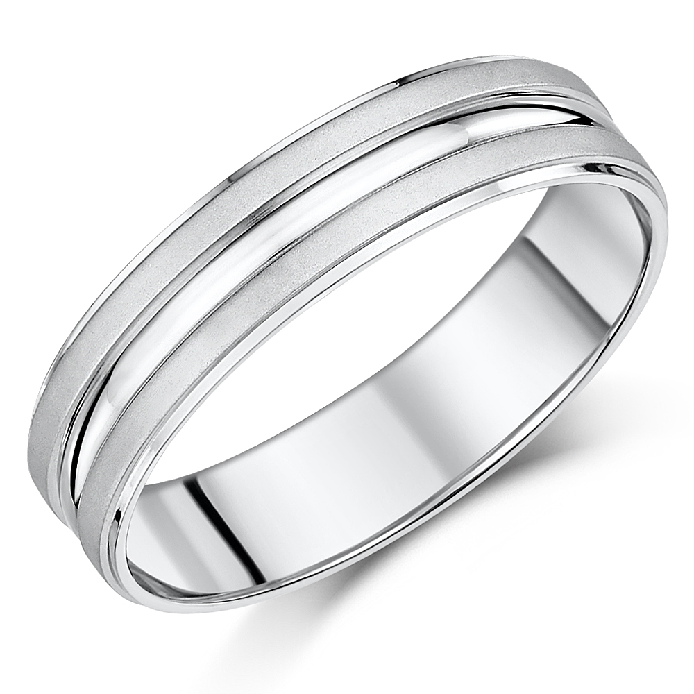6mm Palladium 950 Matt & Polished Wedding Ring Band