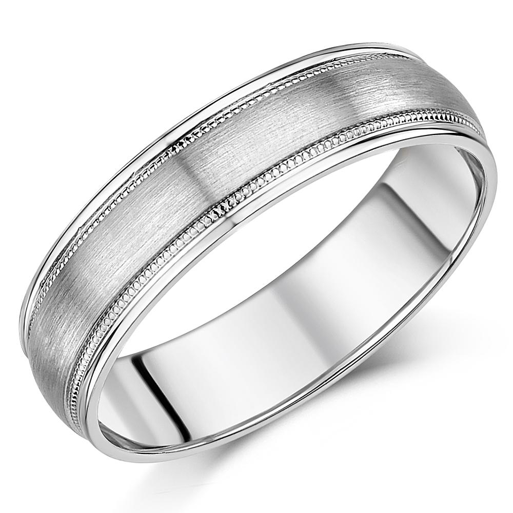 6mm Palladium Matt & Polished Milgrained Wedding Ring Band
