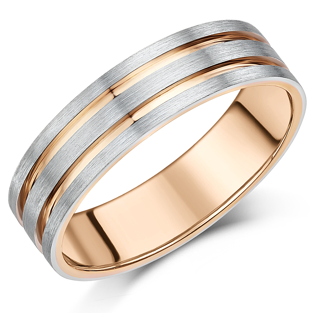 6mm Mens Palladium 950 and 9ct Rose Gold 6mm Two Tone Ring 9ct 2