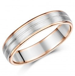 5mm Palladium and 9ct Rose Gold Wedding Ring