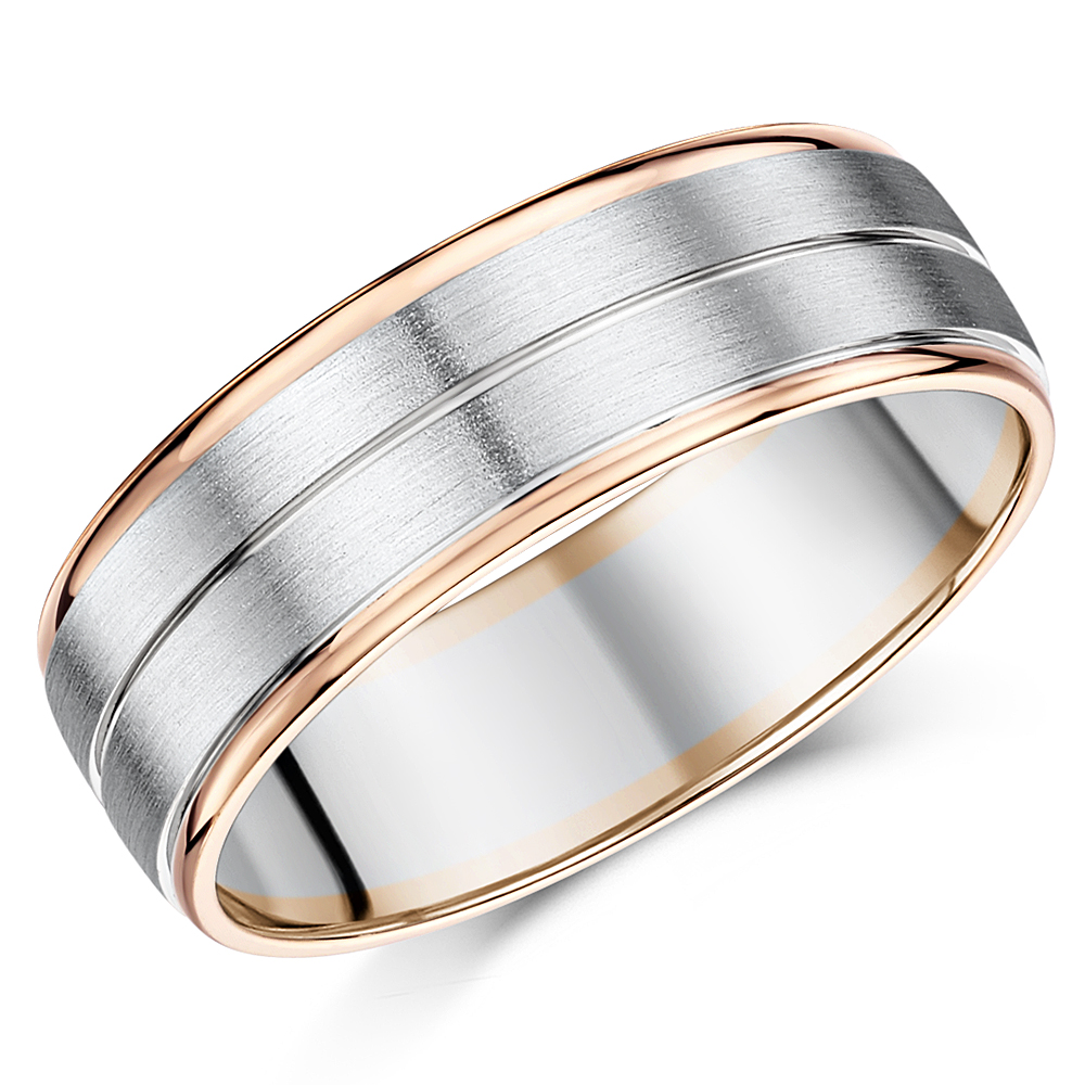7mm Men's Palladium and 9ct Rose Gold Wedding Ring