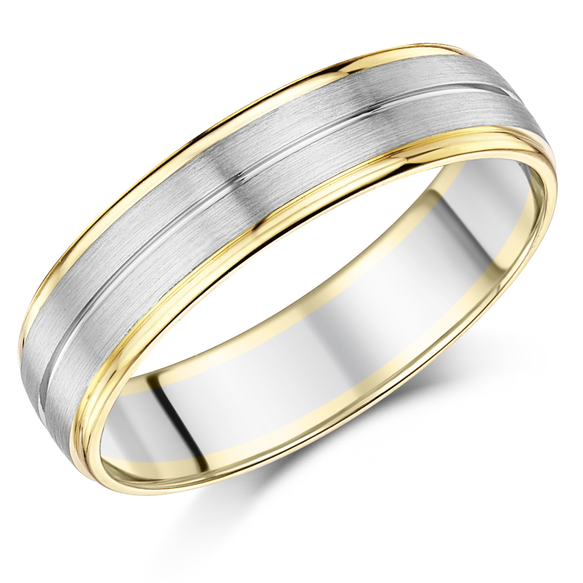 6mm Men's Palladium and 9ct Yellow Gold Wedding Ring