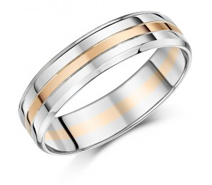 6mm Men's Palladium and 9ct Rose Gold Wedding Ring