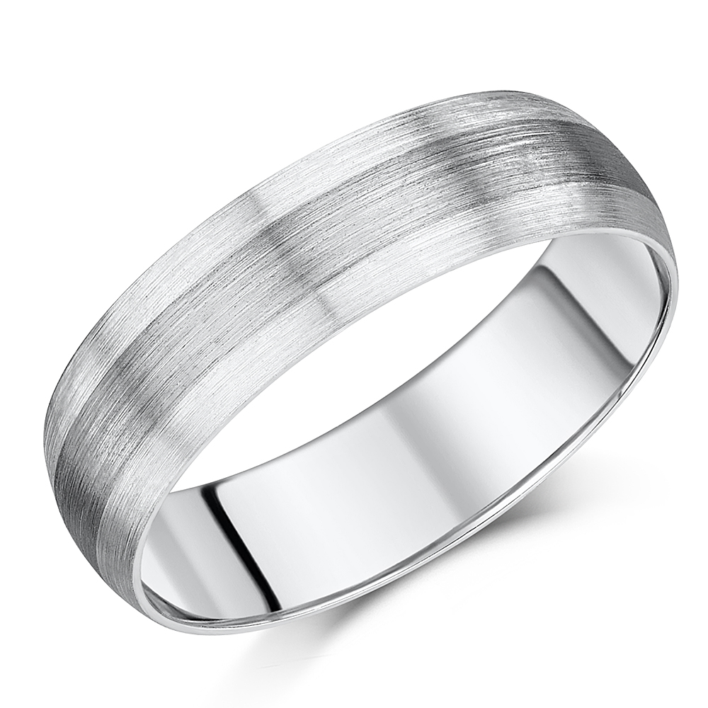 6mm Mens Argentium Silver with Palladium 950 Center Inlay Court Shape