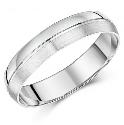 5mm Men's patterned Palladium Wedding Ring