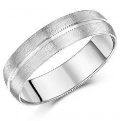 6mm Men's patterned Palladium Wedding Ring