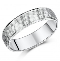 6mm Palladium Hammered Design Ring