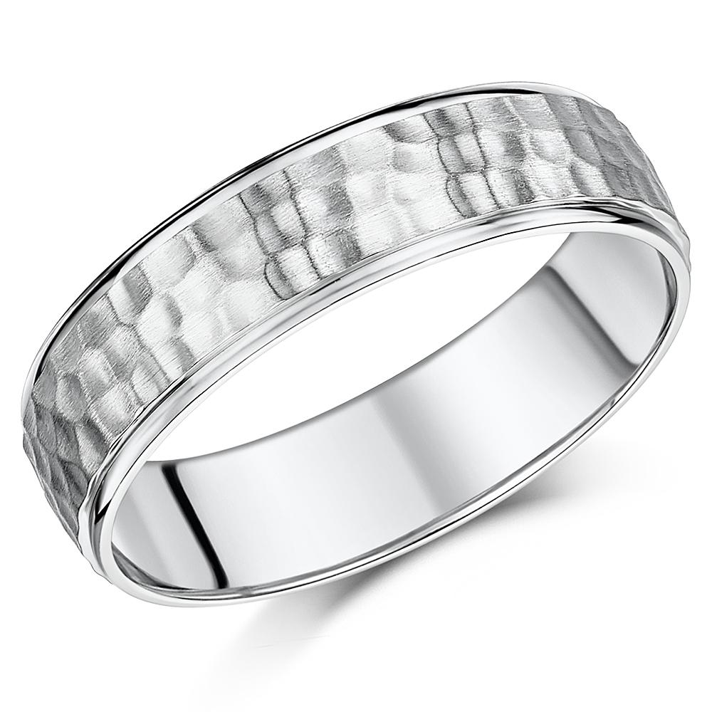 6mm Palladium Hammered Design Ring