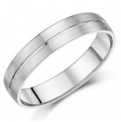 5mm Palladium Matt & Polished Grooved Ring