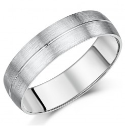 6mm Palladium Matt & Polished Grooved Ring