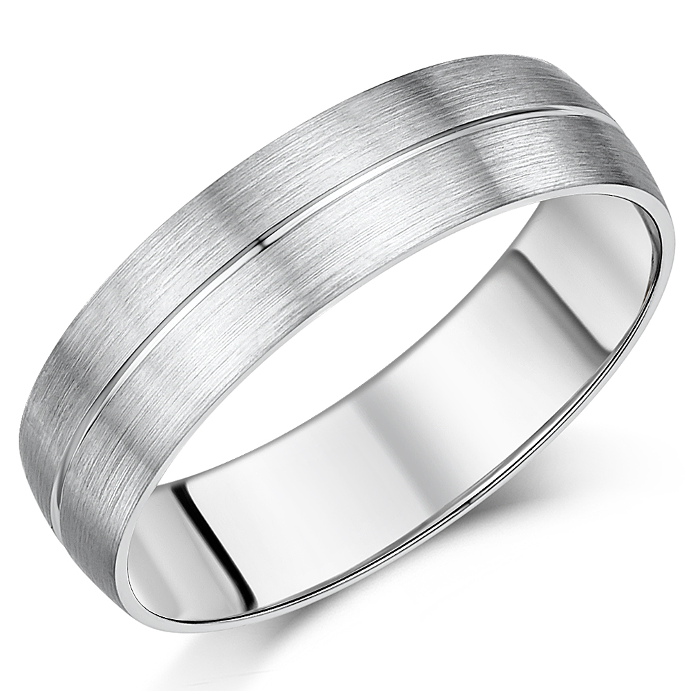 8837466c20d40 His & Hers 5&6mm Palladium Matt & Polished Grooved Wedding Ring ...