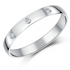 3mm 9 Carat White Gold & Three Diamond Ladies Wedding Band