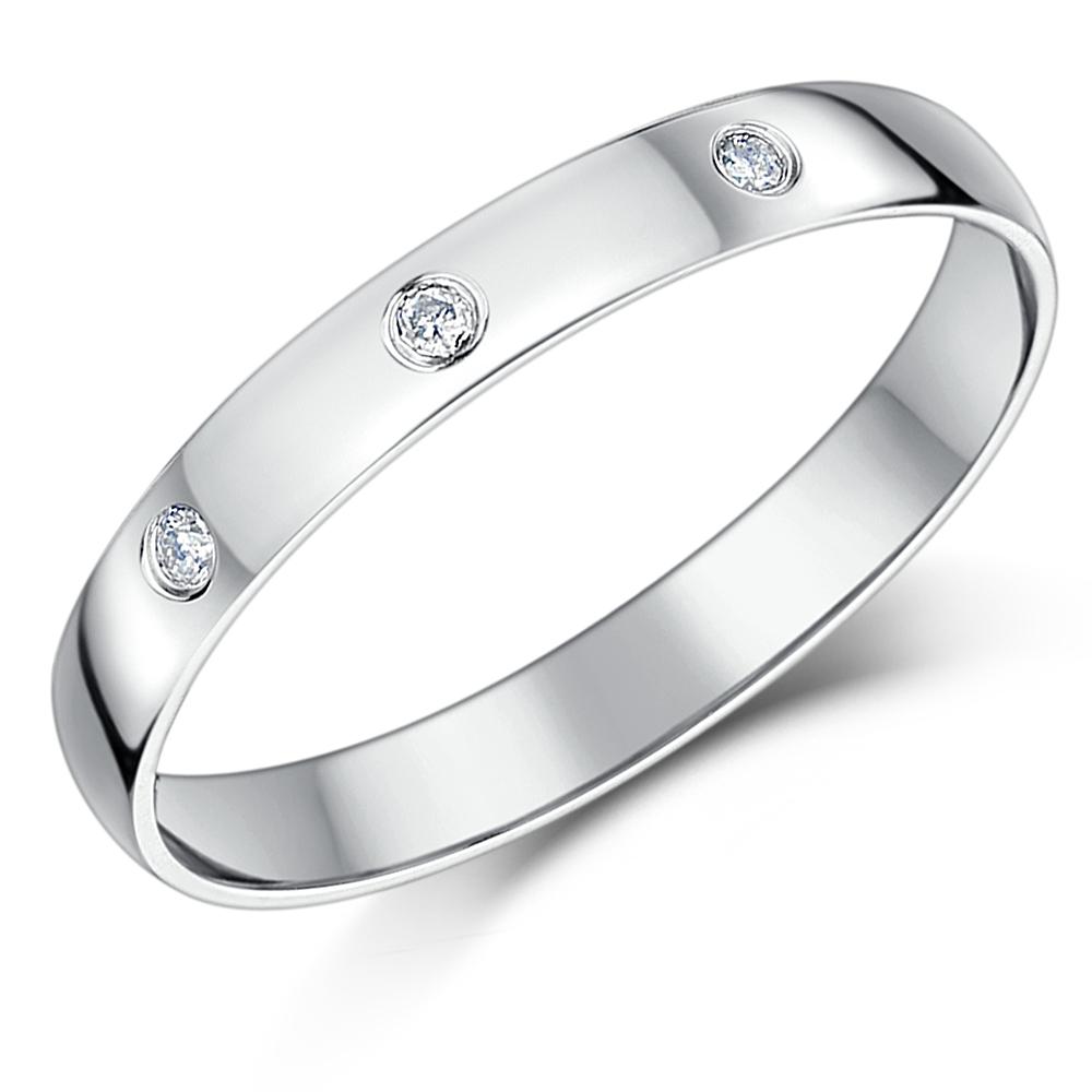 3mm 9 carat white gold three diamond ladies wedding band