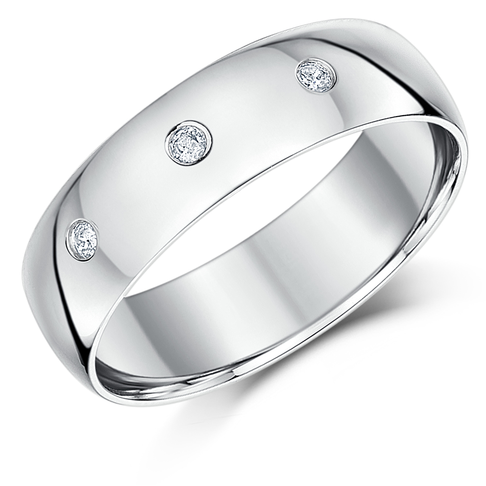 His & Hers 9ct White Gold Three Diamonds 3&6mm Rings