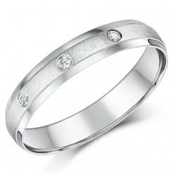 4mm 9ct White Gold Court Shaped Diamond Wedding Ring Band