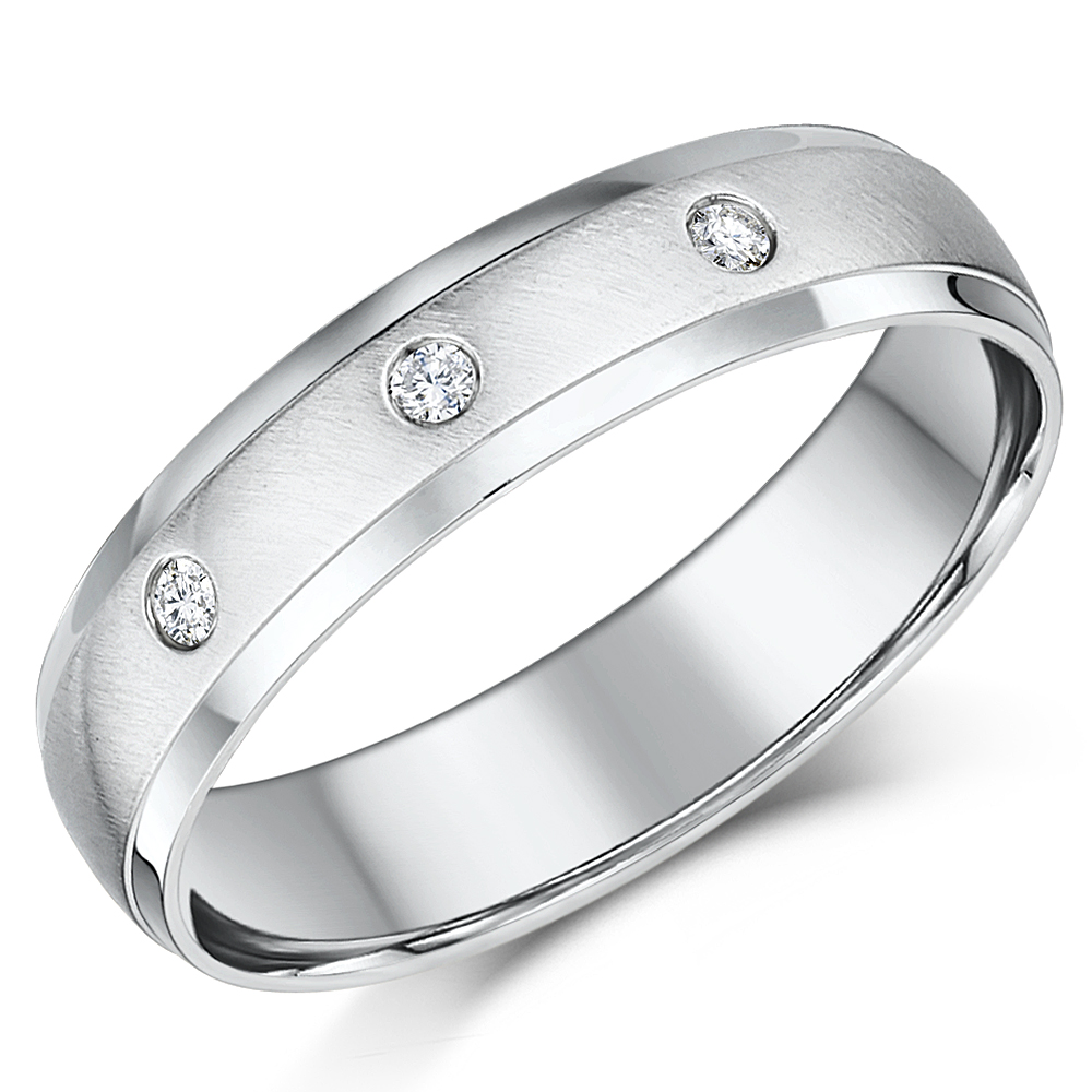 5mm 9ct White Gold Court Shaped Diamond Wedding Ring Band