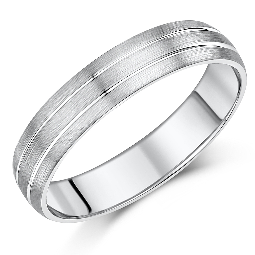 5mm Palladium Double Grooved Wedding Ring Band