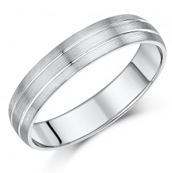 5mm Sterling Silver Heavy Weight Double Grooved Wedding Ring Band