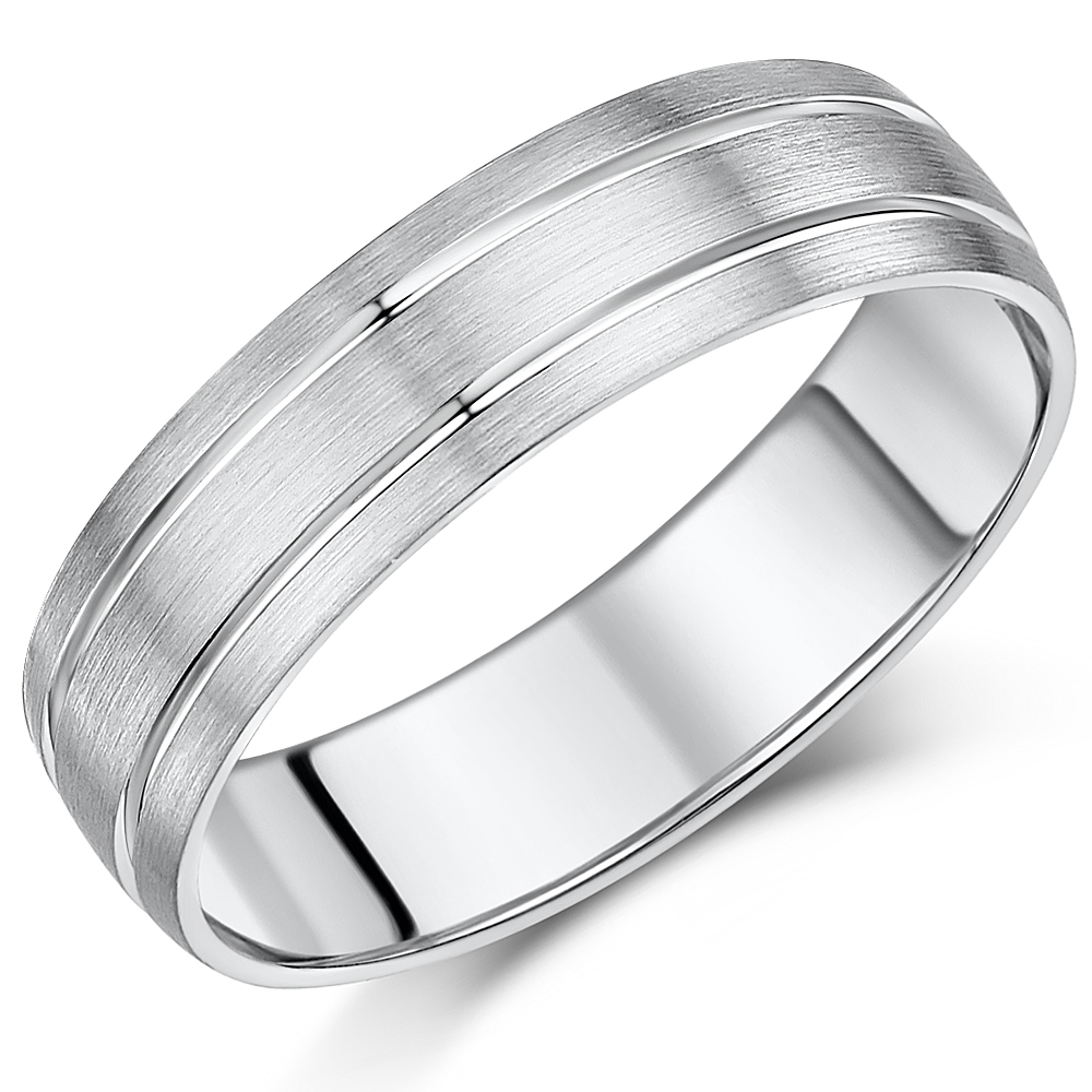 6mm Palladium Double Grooved Wedding Ring Band